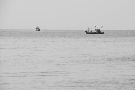 B&W Commercial Fishing Boat in the Ocean