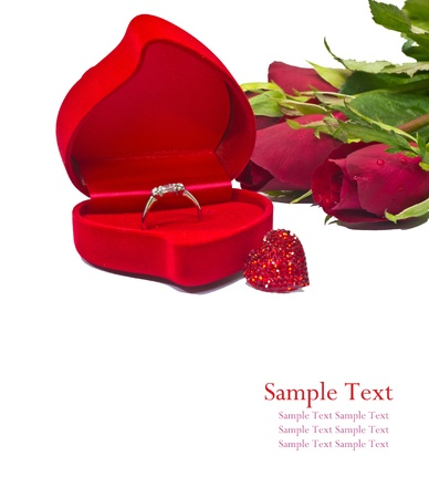 wedding ring, red rose and red heart photo