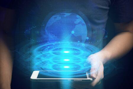 man with digital data social cloud storage network technology hologram ai