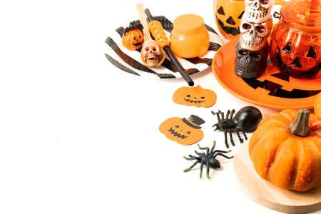 halloween holiday toy dinner prop with white background Stockfoto