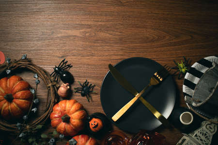 table halloween holiday dinner prop decoration with wood background