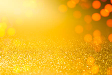 gold yellow bokeh glitter luxury flare decoration of merry christmas season holiday festival abstract background Banco de Imagens