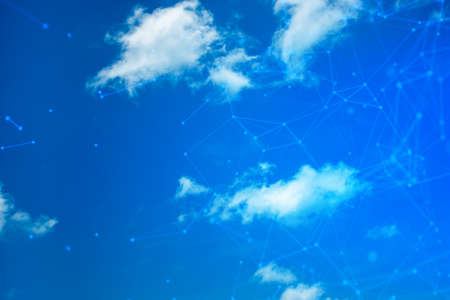 blue sky background natural with information cloud storage server online network internet, data roaming, ai machine deep learning, security privacy digital, signal of wifi, computing system working