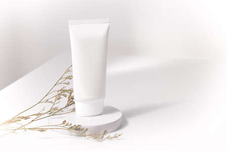 white cream beauty lotion cosmetic package with flower dried Imagens