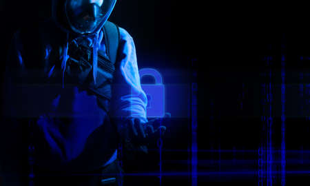hacker man terrorist with virus computer attack to server network system online in data internet security hacking concept