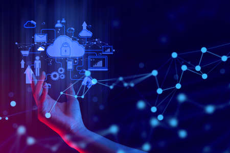 hand with ai data connect to social network for cloud storage technology digital and internet of things business concept, system security online server