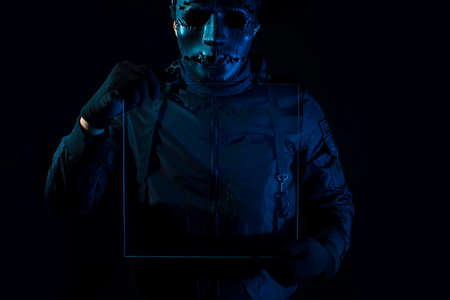 hacker robbery terrorist with virus computer attack to server network system online in data internet security