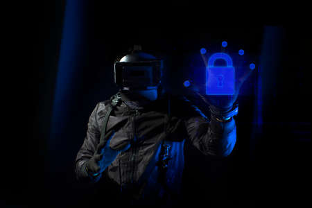 hacker robbery terrorist with vr glass hacking computer attack to server network system online in data internet security