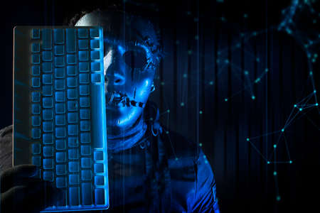 hacker robbery terrorist with lock safety computer keyboard for attack to server network system online in data internet security