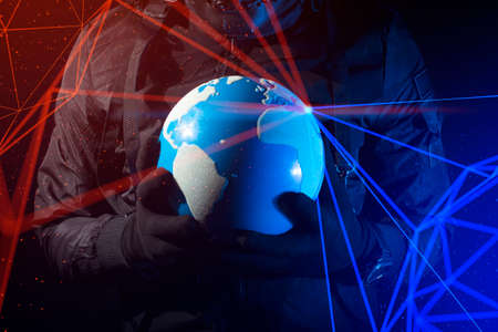 hacker robbery terrorist holding global earth with virus computer attack to server network system online data internet security concept