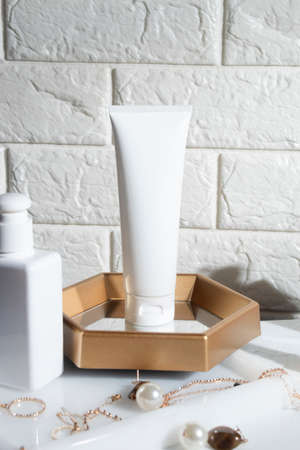 beauty treatment medical skincare cosmetic lotion cream serum mockup bottle packaging product on white decor background in healthcare pharmaceutical medicine
