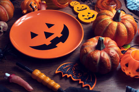 horror spooky funny ghost in halloween on holiday season greeting night celebration party with toy prop decoration and trick or treat autumn october festival and jack-o-lantern concept