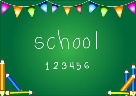 green board: school green board with colorful pencils