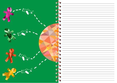 vector design spiral notebook with linedchildren day cards Vector