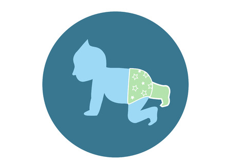 creeps: baby vector symbol on green backgrounds