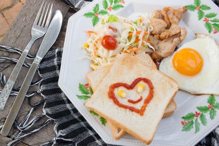 breakfast food: Smile for sweet breakfast with love,breakfast food,hearts Stock Photo