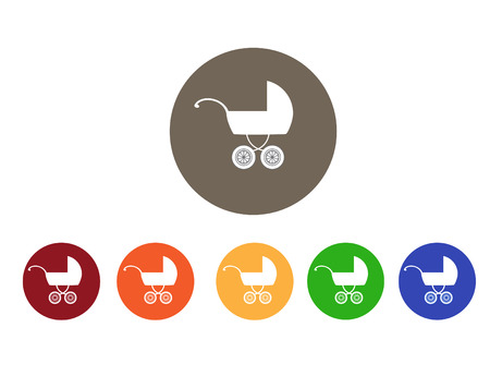 prams: set of  colorful icons for pram ,baby carriage,vector illustration