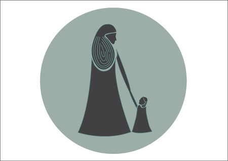 daughter mother: mom and baby vector symbols