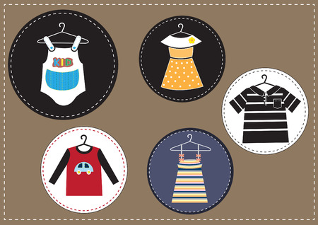 brown backgrounds: set of kids clothes on brown backgrounds Illustration