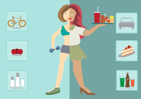 women exists before and after the diet,healthy lifestyle,vector