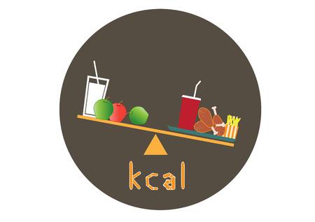 음식의 칼로리, 건강에 좋은 음식과 정크 푸드, 벡터 중에서 선택