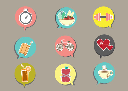 icone sanit�: Fitness and Health icons with brown background