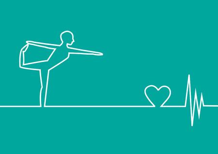 ekg: yoga exercise with EKG heart on green background,vector design