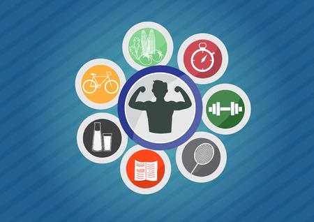 sport iconen, icoon van goede gezonde levensstijl