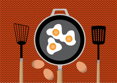 fried egg: Fried egg on frying pan in kitchen and  spatula,vector ilustrations