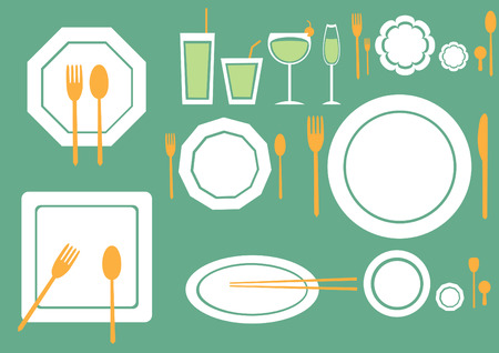 ware: set of table ware on green backgrounds
