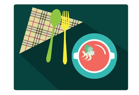 mesa de comedor: cuchara y tenedor con la comida en la mesa del comedor verde, ilustraci�n vectorial