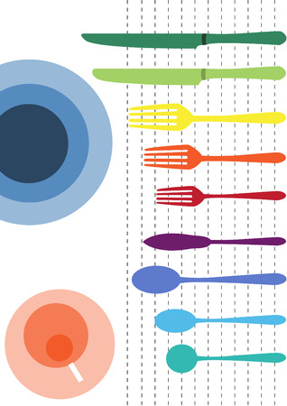 ware: colorful of table ware on white backgrounds Illustration