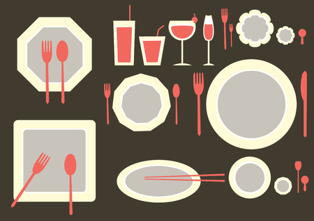formal place setting: set of table ware on brown backgrounds