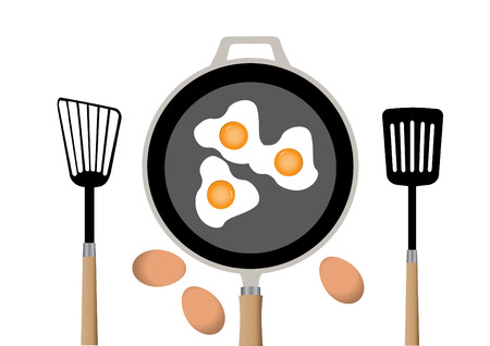 ilustrations: Fried egg on frying pan in kitchen and  spatula,vector ilustrations