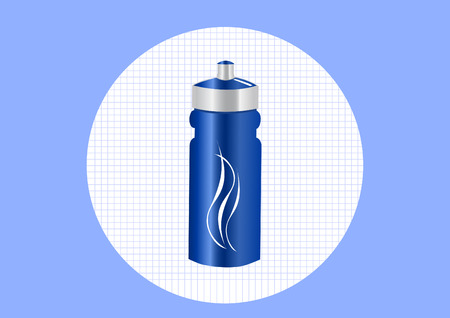 energy drink: Blue aluminum bottle water isolated white background Illustration