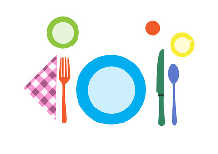 formal place setting: breakfast Table setting Illustration