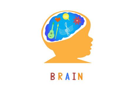 cerebro humano: Ilustración vectorial de diseños cerebrales, Educación Concepto Pensamiento