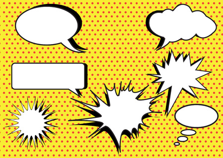 group of conversation bubbles on yellow polka dot backgrounds