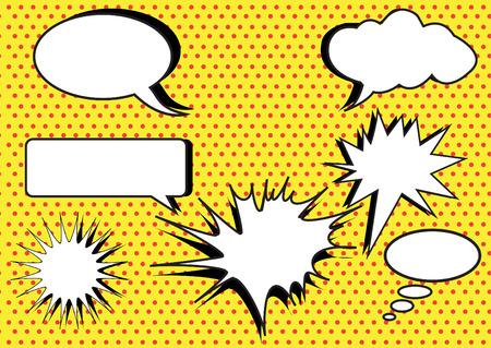 Groupe de conversation, des bulles sur polka jaune milieux de points Banque d'images - 45017372