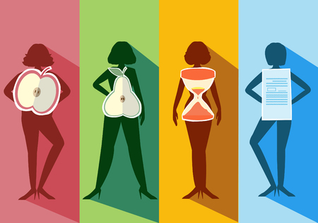 naked woman  white background: Set of female body shape Types,vector illustrations
