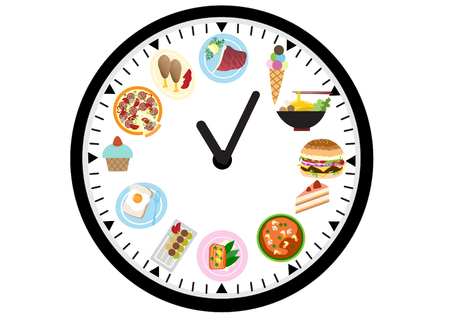 grilled salmon: food icons on a clock , food design