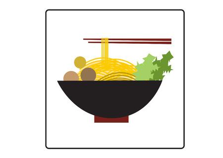 국수와 젓가락, 음식 아이콘의 그릇 일러스트