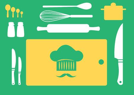 utensilios de cocina: Conjunto de utensilios de cocina, colección de utensilios de cocina, ilustraciones vectoriales