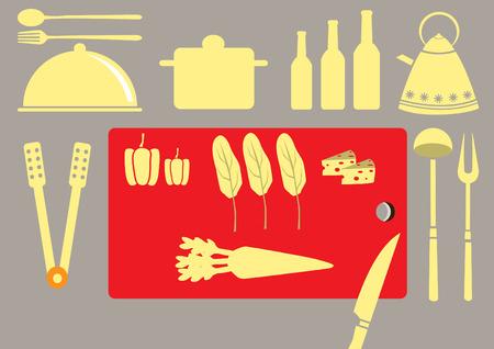 utensilios de cocina: Conjunto de utensilio de cocina y colecci�n de utensilios de cocina, ilustraciones vectoriales
