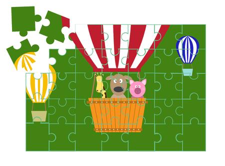 Puzzel animala cartoon spellen, vector illustraties