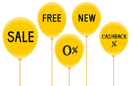 surprise party: Yellow baloons and discounts,Use for advertisement ,Vector illustrations