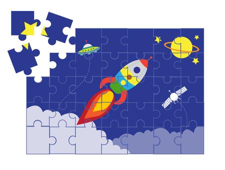 Puzzel ruimte cartoon spellen, vector illustraties Stock Illustratie