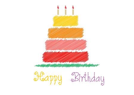 persona alegre: Tarjeta de cumpleaños feliz con la torta de cumpleaños, ilustraciones vectoriales Foto de archivo