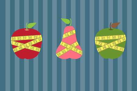 measuring tape: Fruits with yellow measuring tape on stripe backgrounds,Vector illustrations