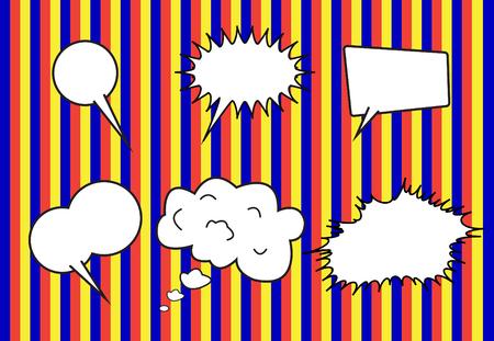 conversation: group of conversation bubbles on  stripe  backgrounds Illustration